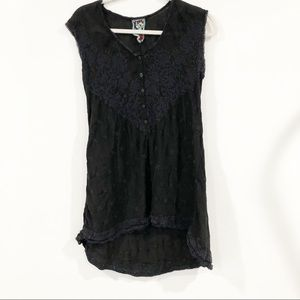 Johnny Was Black embroidered Sleeveless Tunic